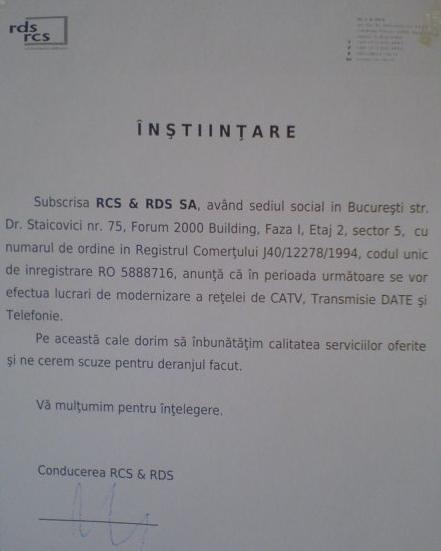 RDS Comunicheaza...